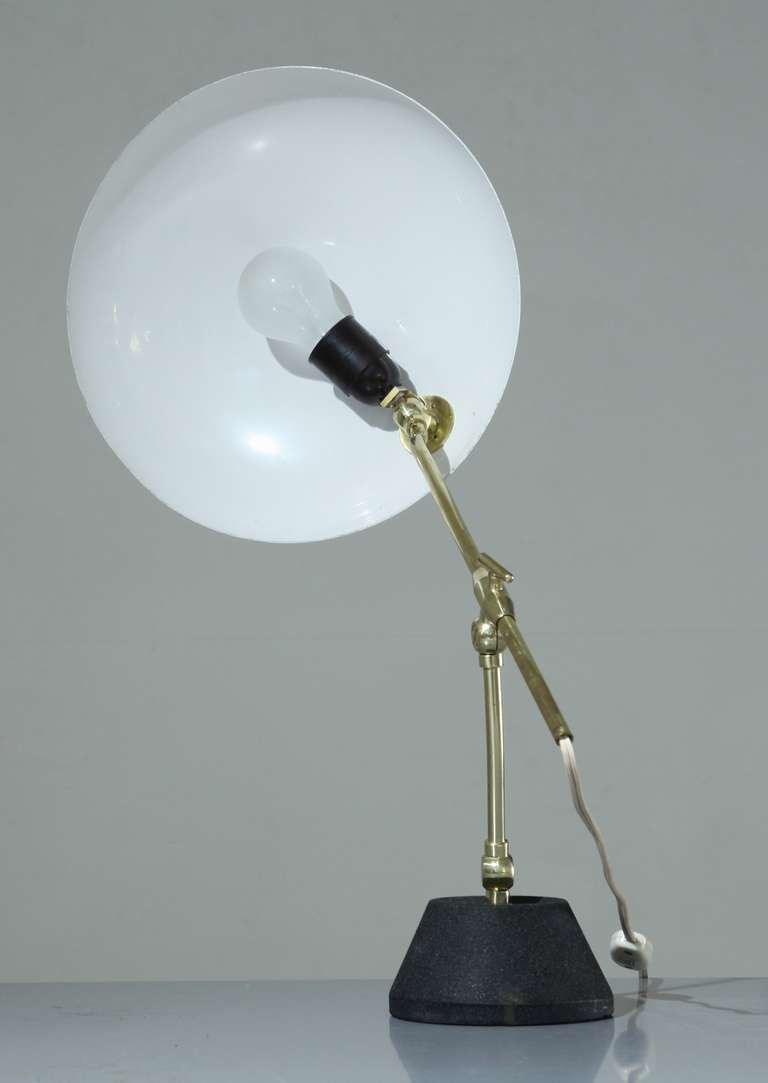 Mid-Century Modern Green Shaded BAG Turgi Table Lamp, Switzerland, 1950s For Sale