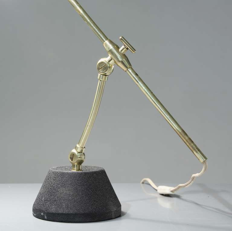 Swiss Green Shaded BAG Turgi Table Lamp, Switzerland, 1950s For Sale