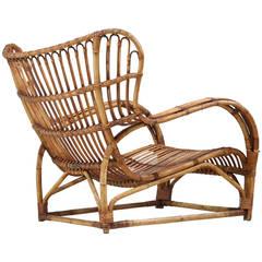 Viggo Boesen Bamboo Lounge Chair for E.V.A. Nissen, Denmark, 1930s