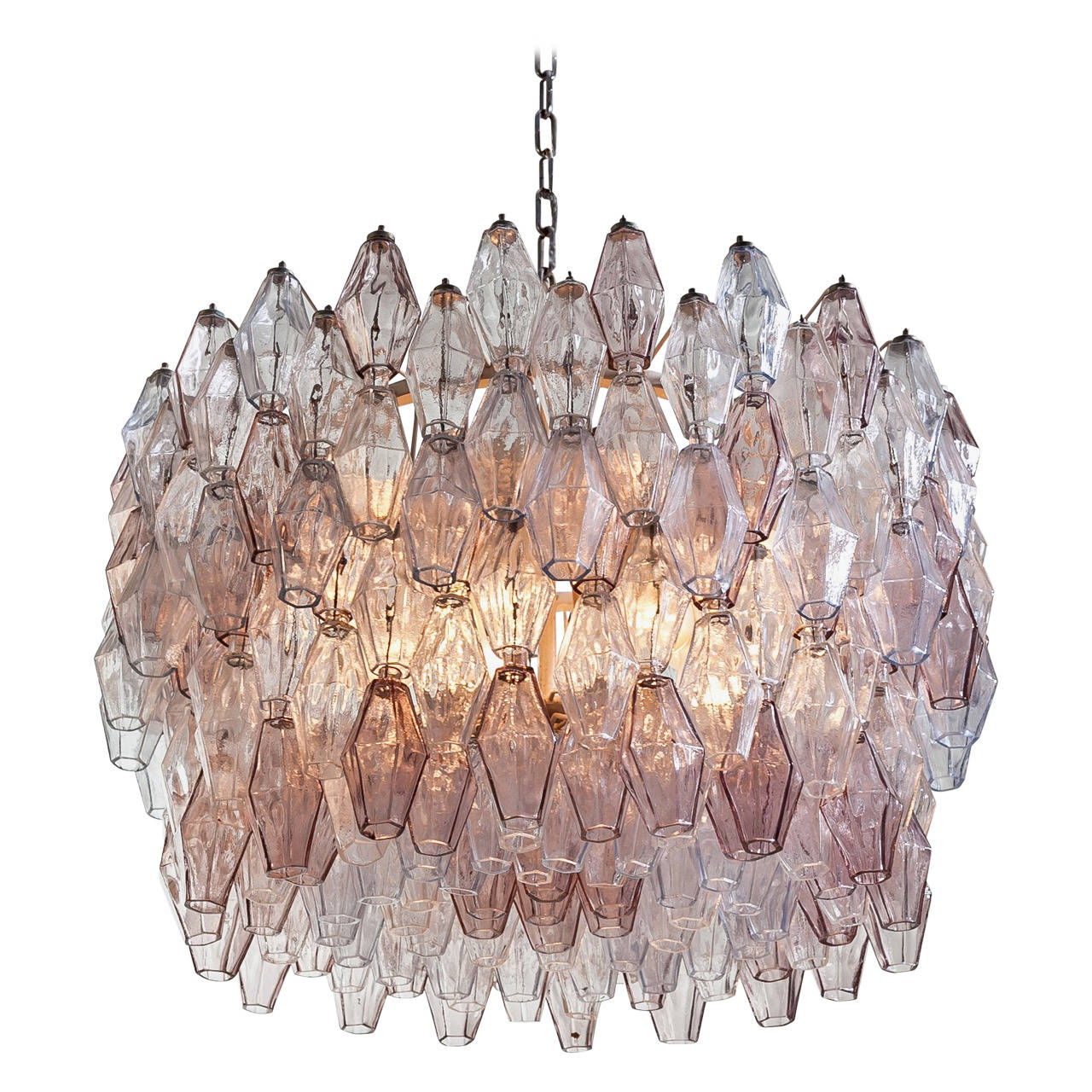 Pair of Carlo Scarpa Extra Large 245 Murano Glass Pieces 'Poliedri' Chandeliers For Sale