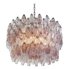 Pair of Carlo Scarpa Extra Large 245 Murano Glass Pieces 'Poliedri' Chandeliers