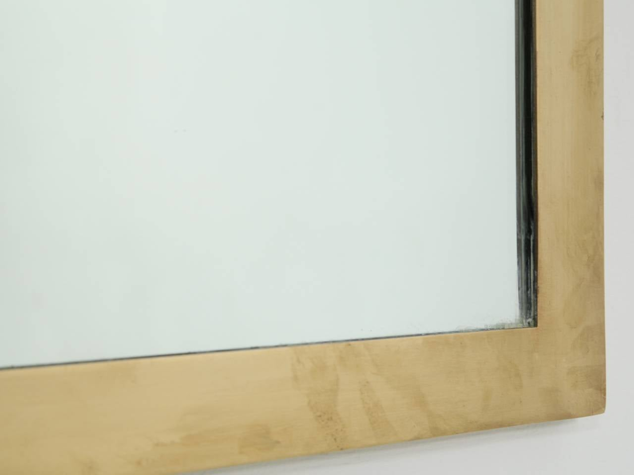 Rectangular Italian wall mirror with heavy brass frame, 1950s at 1stdibs