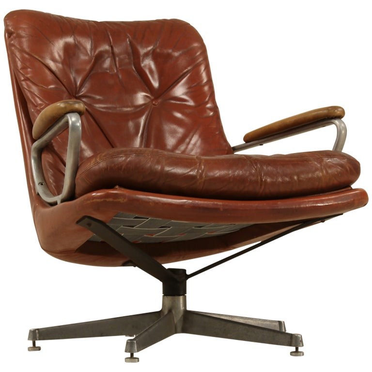 Leather Lounge Chair on Swivel by Strassle at 1stdibs