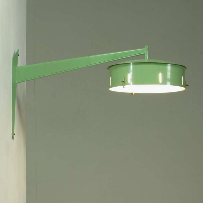 Green Metal Wall Lights : Italian 1950s Stilnovo Wall Applique In Pale Green Metal For Sale at 1stdibs