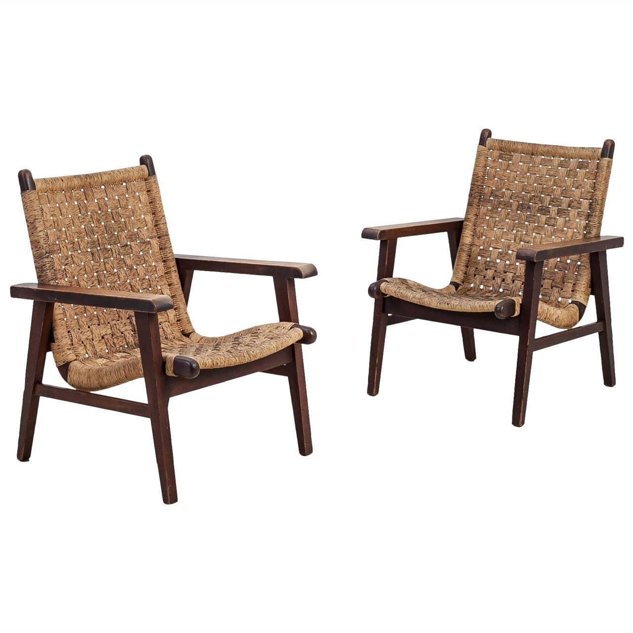 Pair Van Beuren Attributed Armchairs With Woven Cord Seating  # Muebles Van Beuren