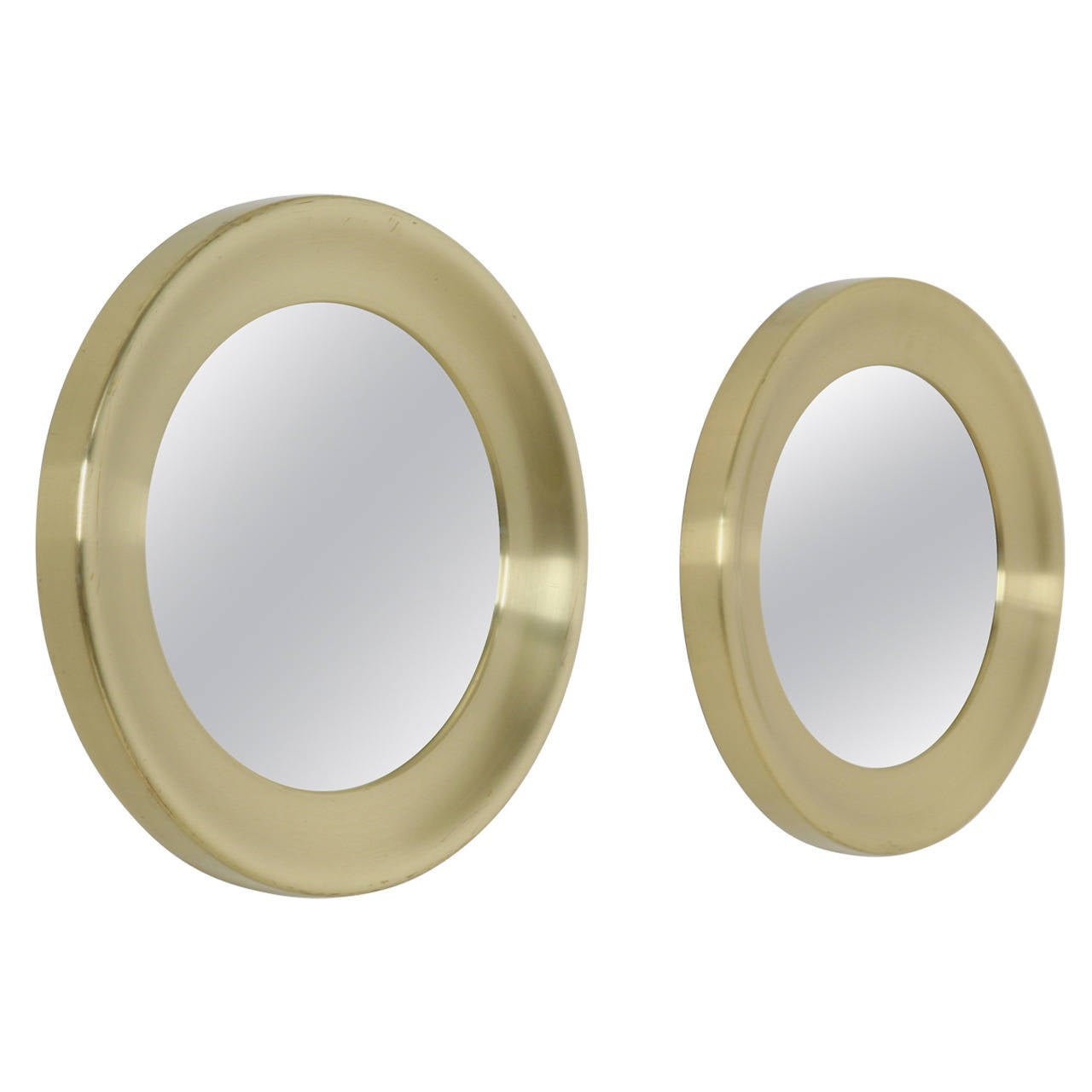 Pair of Round Brass Mirrors by Glasmaster, Markaryd, Sweden, 1960s