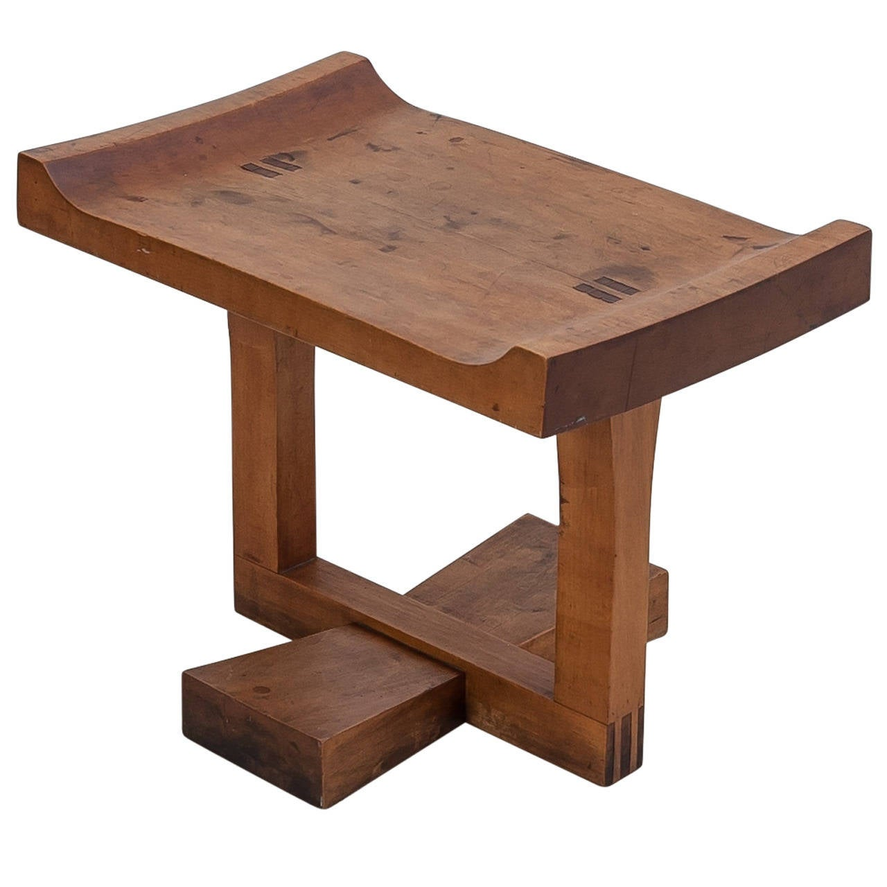 Exceptional Studio Craft Cherry Wood Bench Stool Or