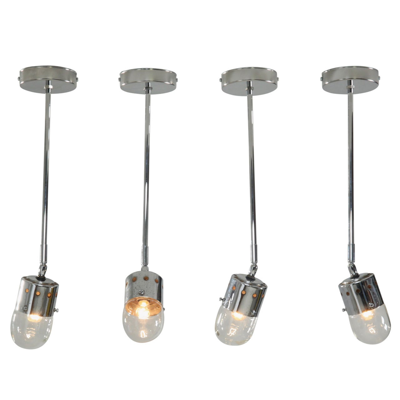 Set of four chrome minimalist Italian ceiling lights, 1950s