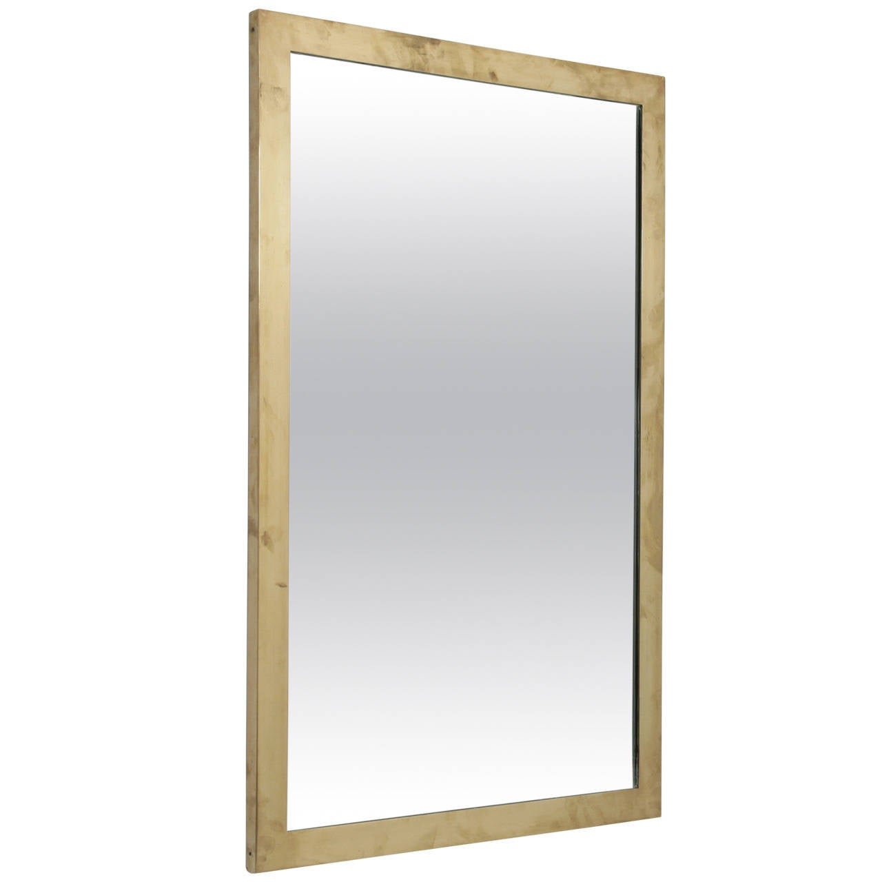 rectangular italian wall mirror with heavy brass frame 1950s 1