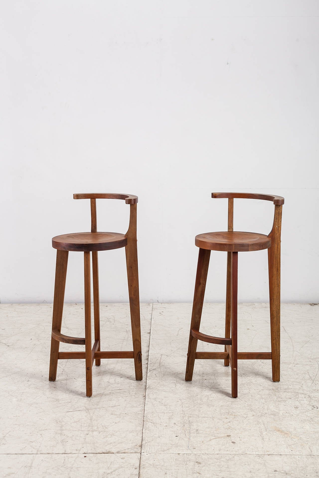 Very Impressive portraiture of Pair Studio crafted wooden bar stools with rounded back rests For Sale  with #462315 color and 1280x1920 pixels