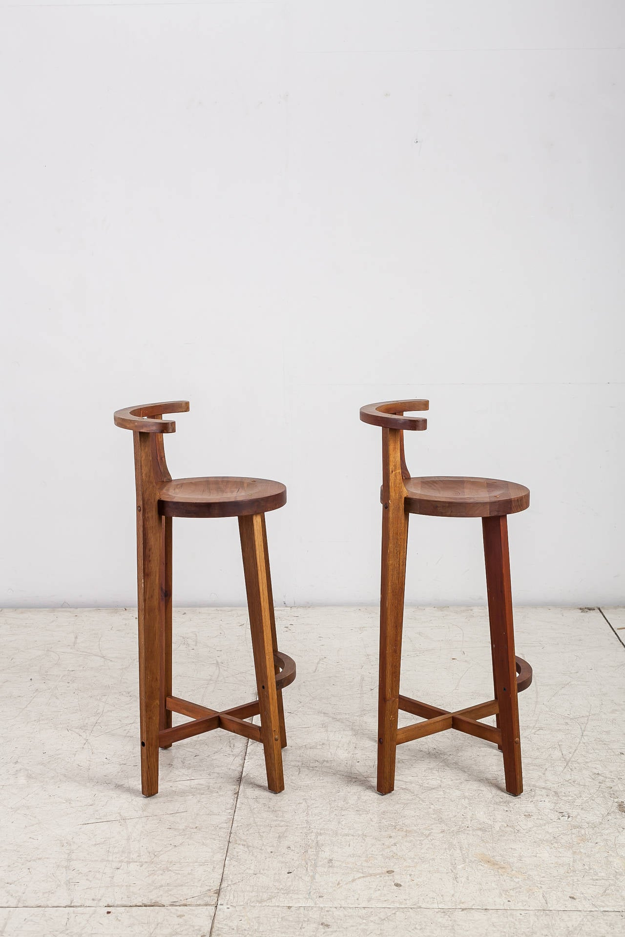 Marvelous photograph of Pair Studio crafted wooden bar stools with rounded back rests For Sale  with #492216 color and 1280x1920 pixels