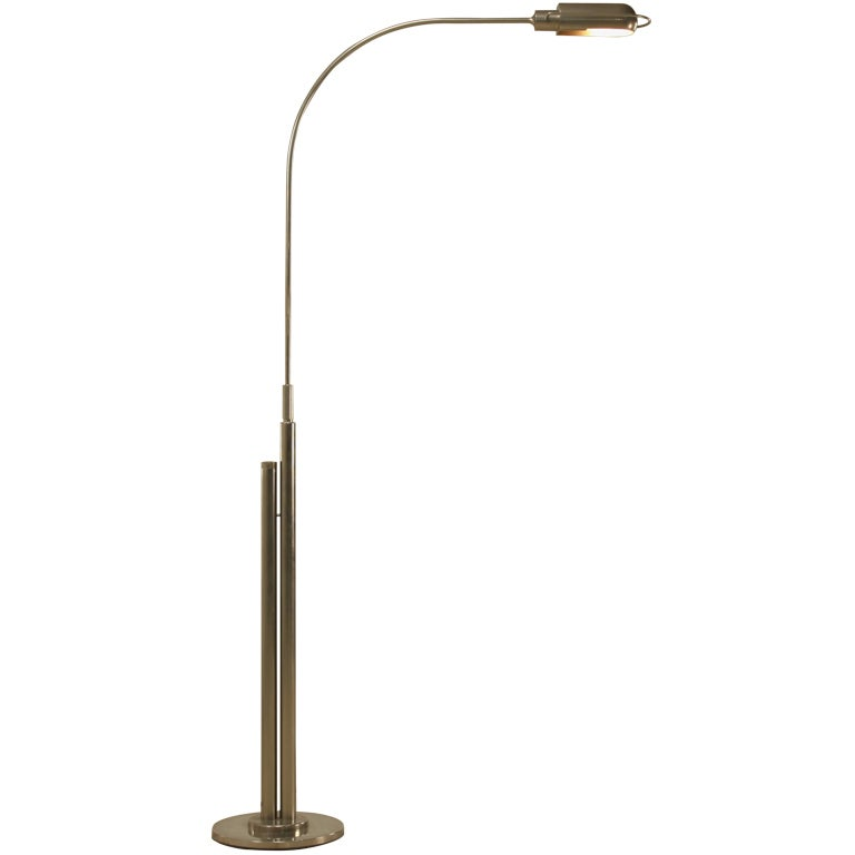 Nickel Plated Height Adjustable Floor Lamp at 1stdibs