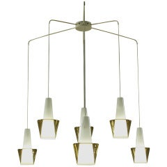 Large 6 Armed Scandinavian Double Glass Chandelier. Manner of Tapio Wirkkala