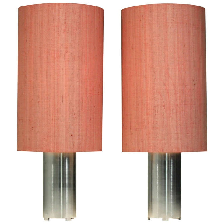 Pair 1960s Brushed Aluminum Table Or Console Lamps With Fabric Shades