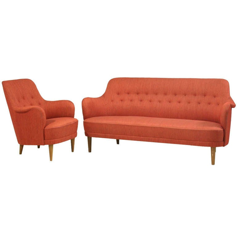Carl malmsten model samsas sofa and chair for sale at 1stdibs Carl malmsten sofa