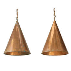 Pair of Hand-Hammered Copper Ceiling Lamps