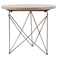Brancusi Marble and Brass Cradle Side Table