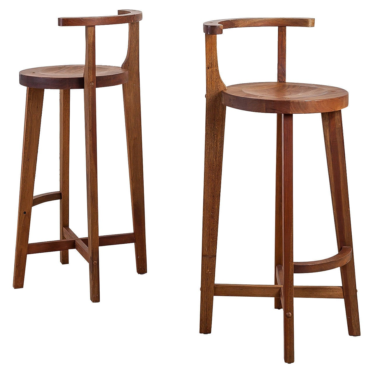 Pair studio crafted wooden bar stools with rounded back