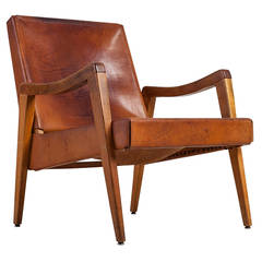 Maple Leather Lounge Chair with a Beautiful Patina