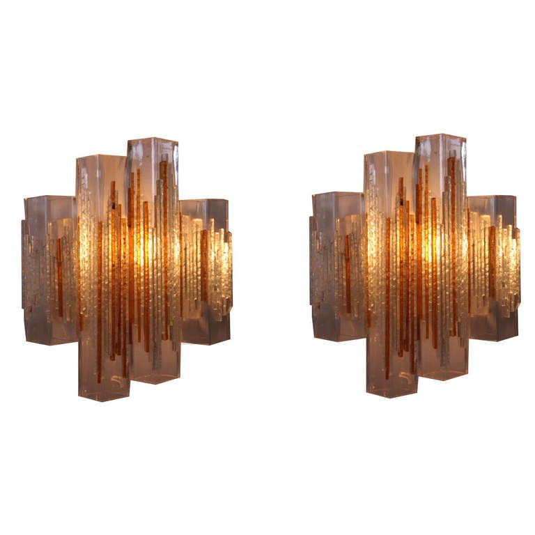 Wall Sconce Rough In Height : Pair of Poliarte Cubic Glass Wall Sconces, Italy, 1960s at 1stdibs