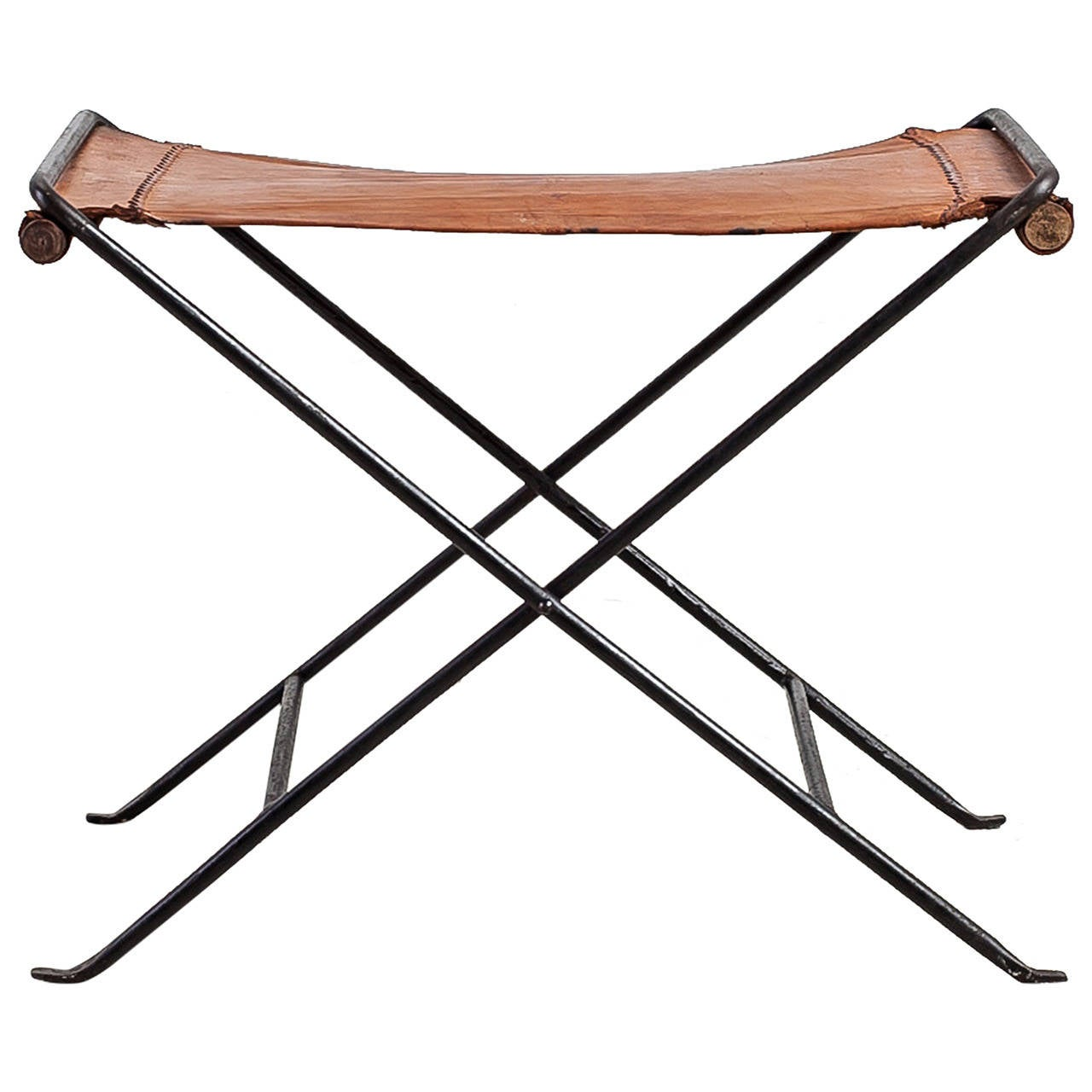 Cleo Baldon Leather and Iron Folding Stool USA 1960s For  : 1866162l from www.1stdibs.com size 1280 x 1280 jpeg 94kB