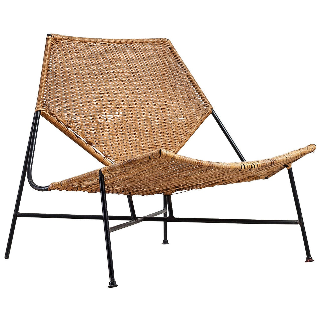 Arthur Umanoff Rattan Lounge Chair At 1stdibs