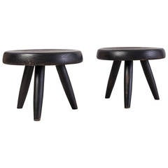 Pair of Black Charlotte Perriand Low Stools