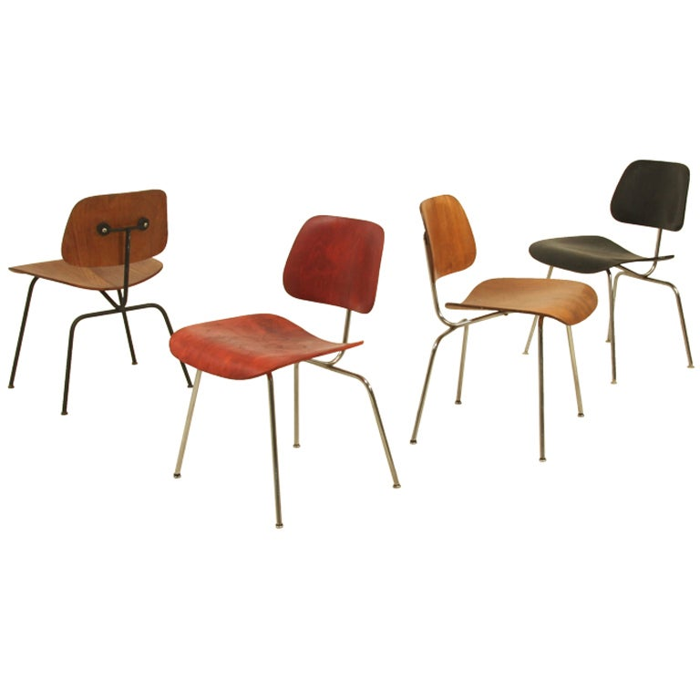Set of four Evans editions of the Eames DCM chair