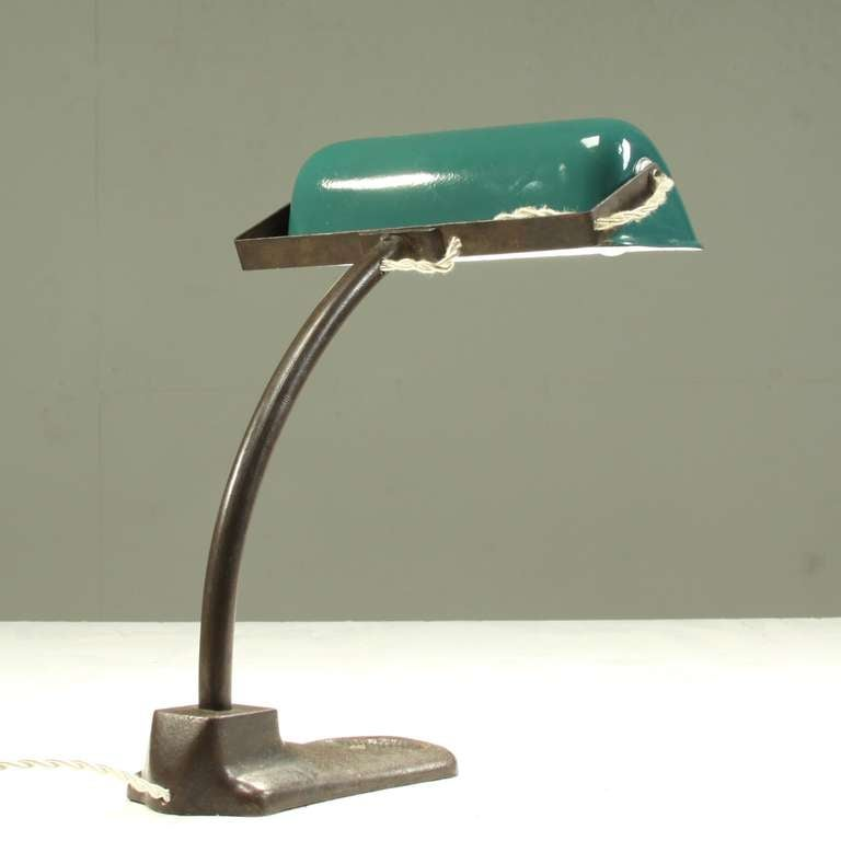 An Italian Desk Lamp Standing On A Heavy Sculpted Bronze Foot And Excellent Condition