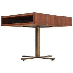Hugh Acton Walnut and Brass Coffee Table, USA, 1960s