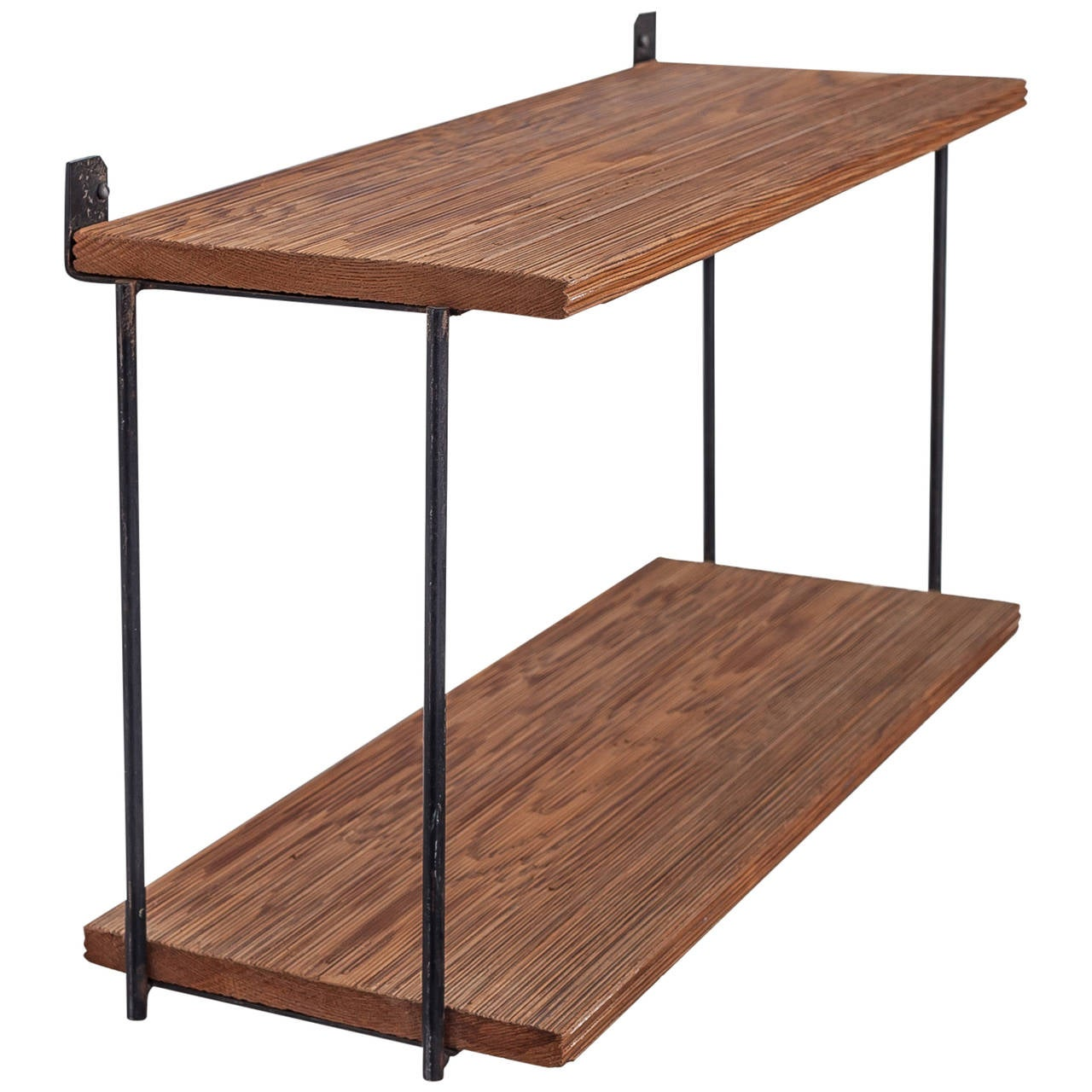 Muriel Coleman Iron and Brushed Wood Shelve Unit