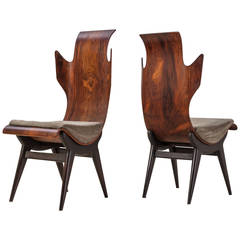 Dante Latorre Rare Pair of Chairs for Pozzi e Verga. Italian, 1960s
