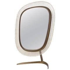 Brass Table Mirror with Mesh Band