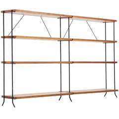 Minimalist iron and wood room divider / stelve unit