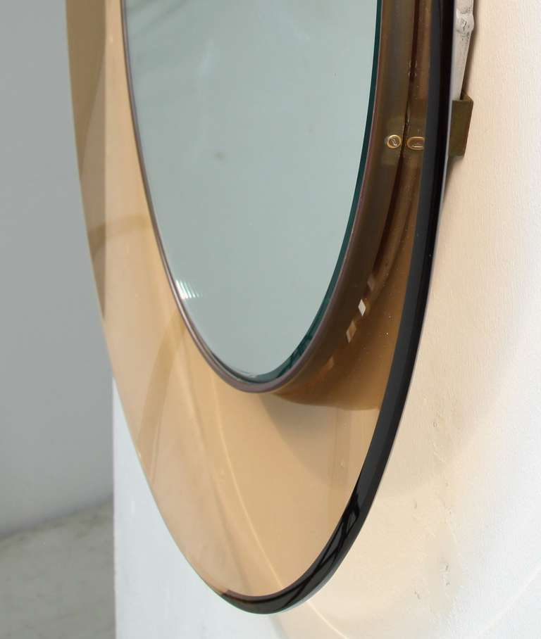 round fontana arte mirror by max ingrand italy 1960s for sale at 1stdibs. Black Bedroom Furniture Sets. Home Design Ideas