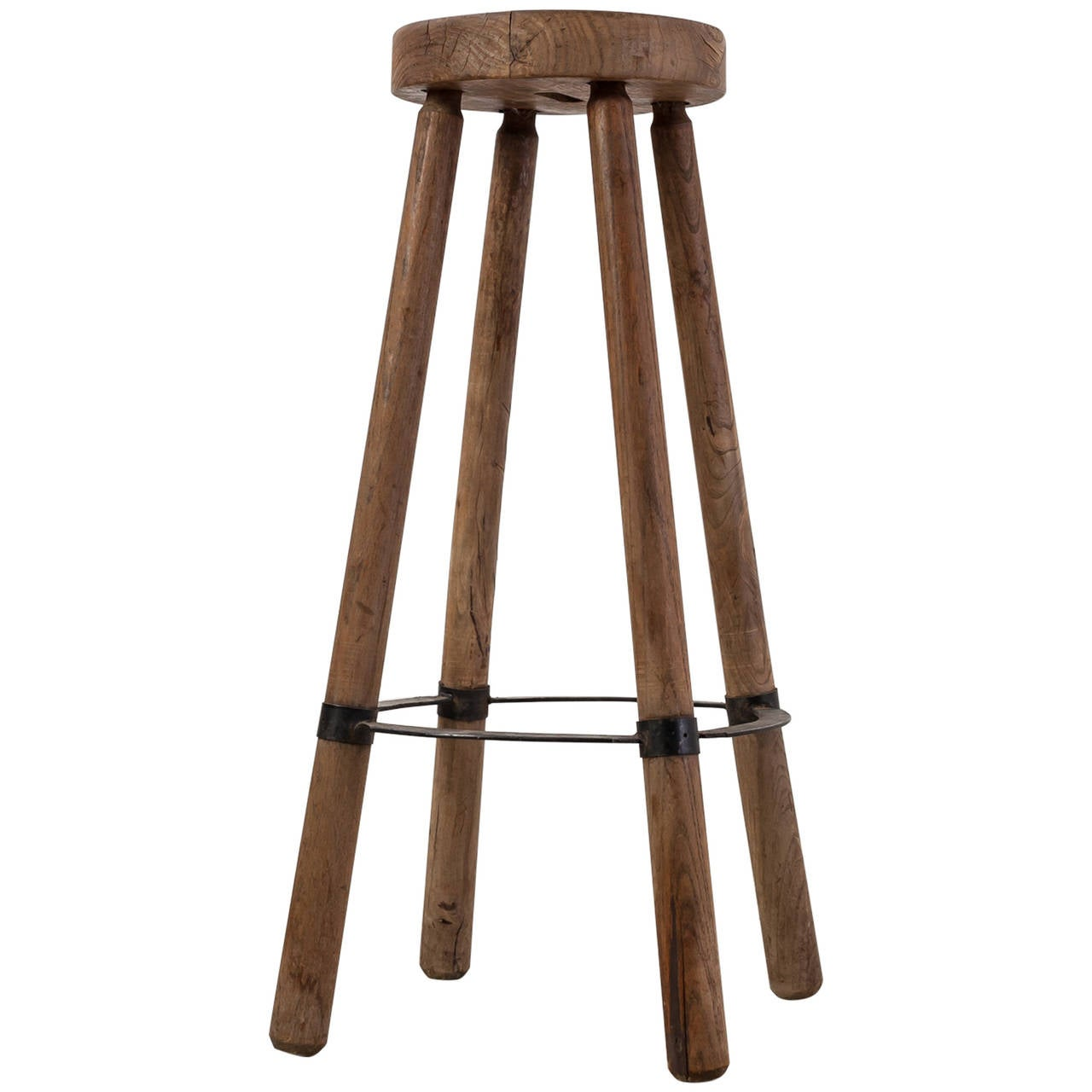 High French Stool in Wood with Metal Foot Ring