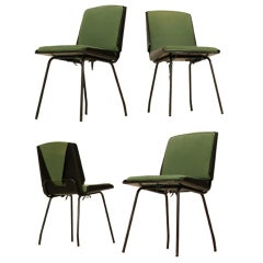 "Giancarlo de Carlo Four ""Lucania"" Molded Plywood Dining Chairs, Italy, 1950s"