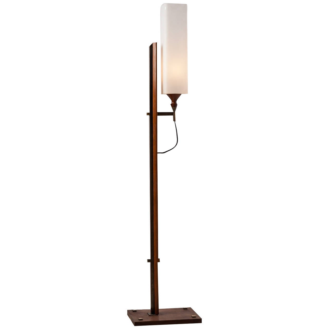unique italian teak and brass floor lamp 1940s 50s for. Black Bedroom Furniture Sets. Home Design Ideas
