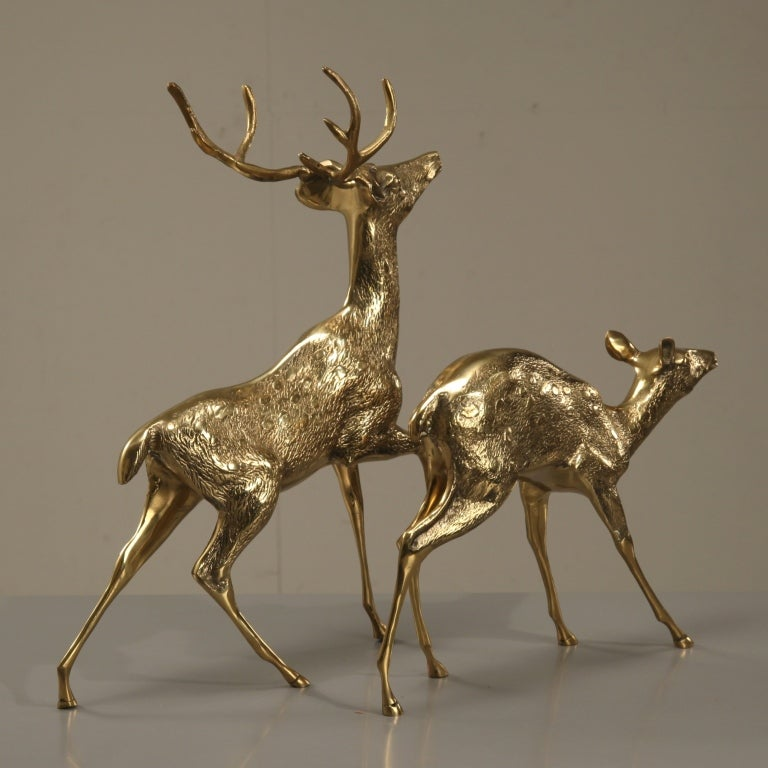 Sculptural Pair Of Brass Deer 2