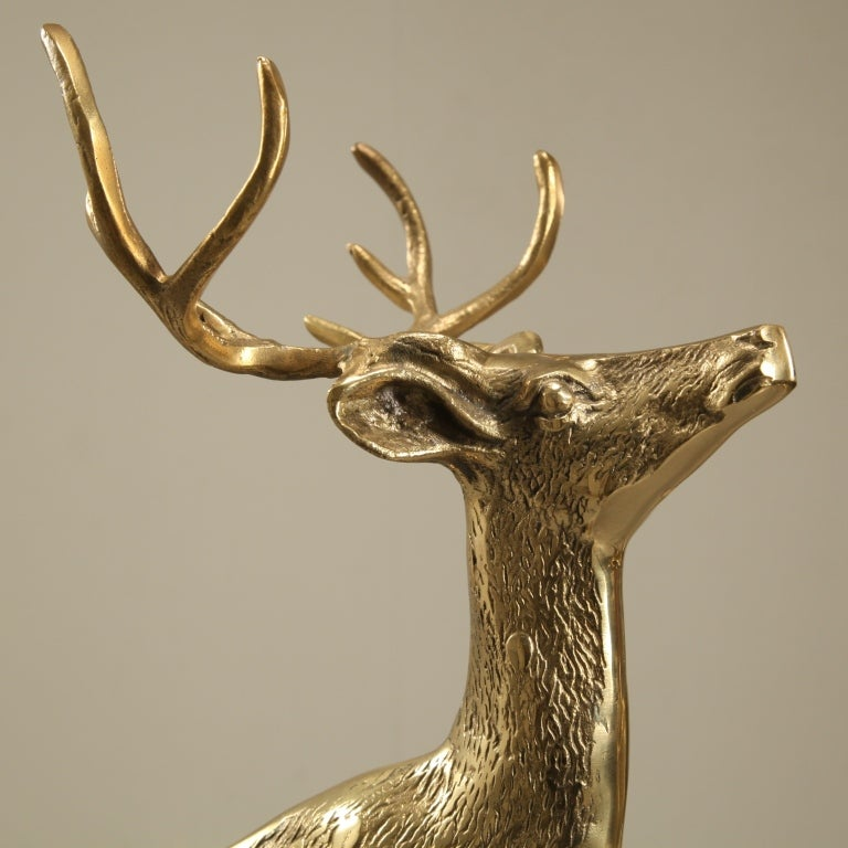 Sculptural Pair Of Brass Deer 3