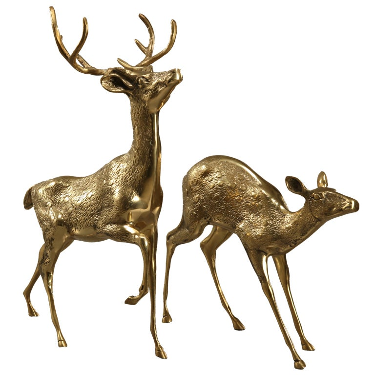 Sculptural Pair Of Brass Deer 1