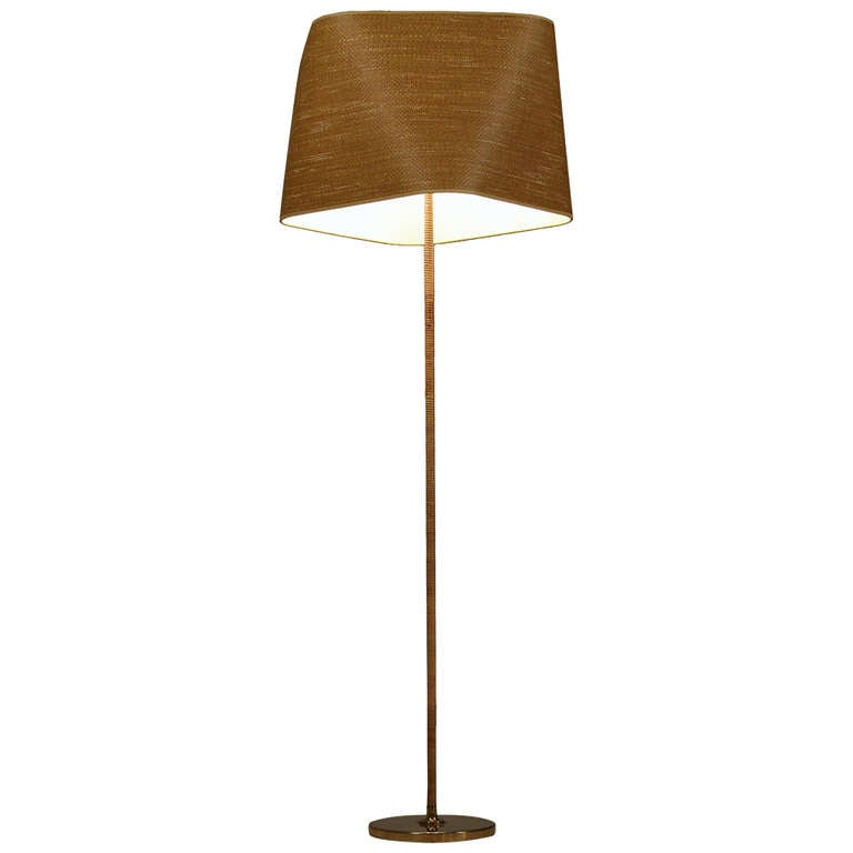 Itsu Floor Lamp with Cane Covered Stem and Cane Shade, Finland, 1950s