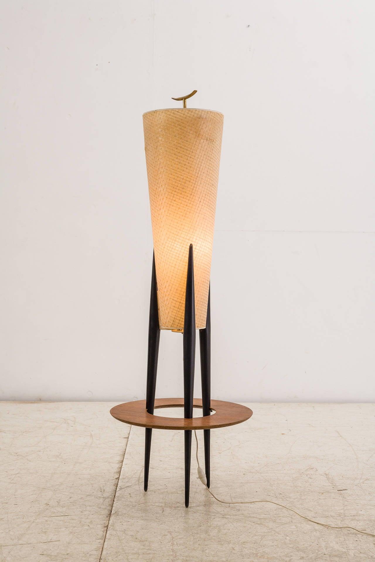 rare three legged rispal floor lamp france 1950s for sale at 1stdibs. Black Bedroom Furniture Sets. Home Design Ideas