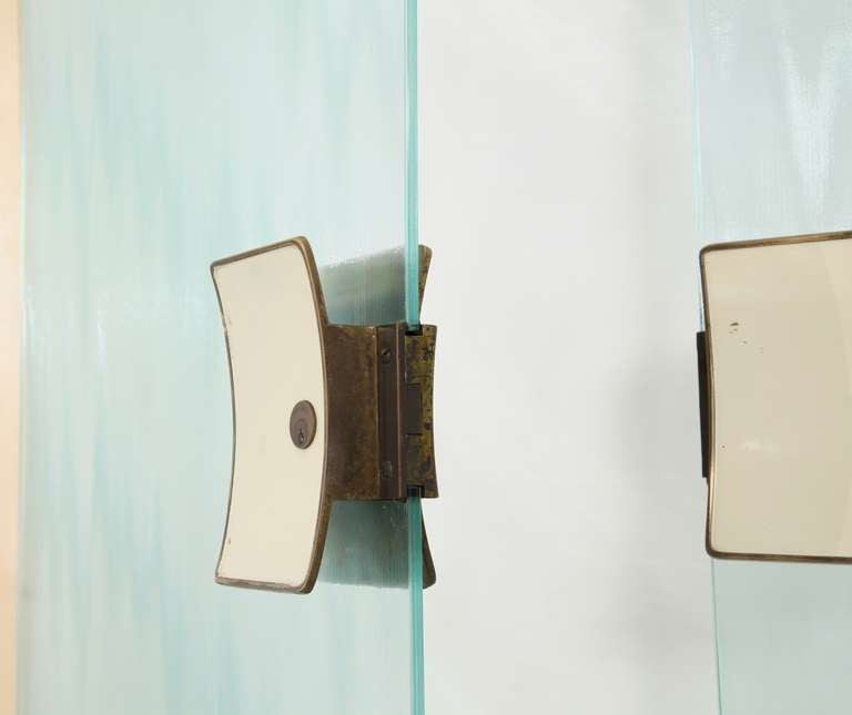 Italian 1950s Glass Door Set With Brass Knobs Latches And