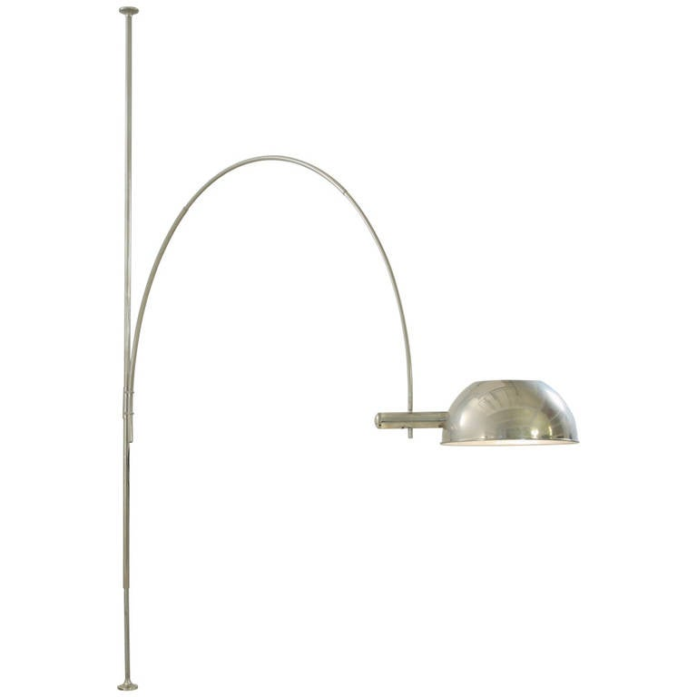 Ceiling to floor lamp by florian schulz with adjustable arc germany 1970s for sale