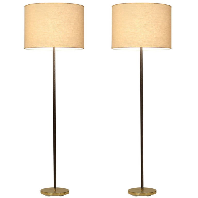 Pair Minimal Floor Lamps With Leather Stem And Cream Shade