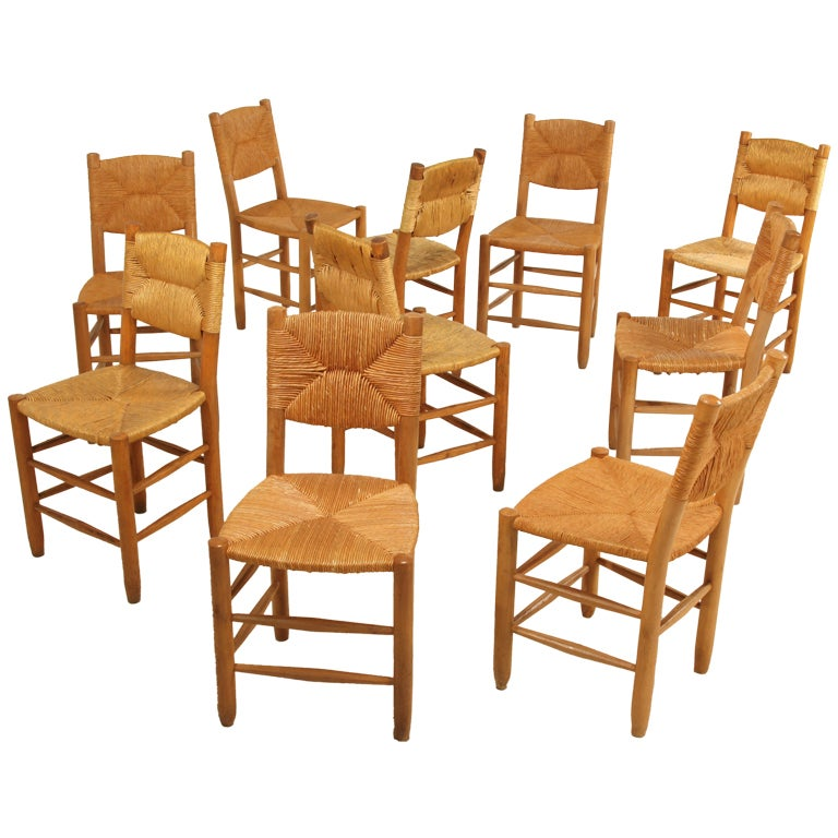 set of 10 bauche chairs by charlotte perriand for les arcs