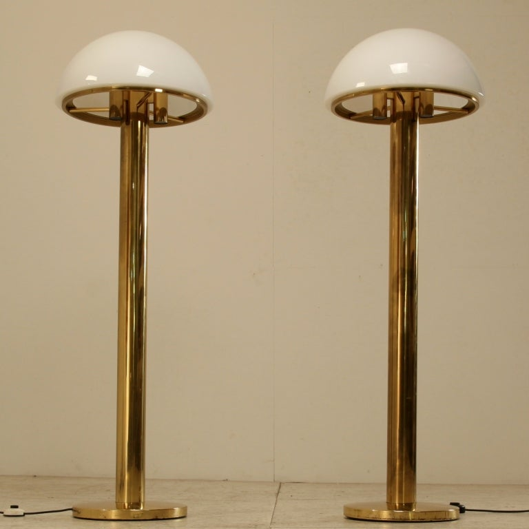 Charming Brass Mushroom Shaped Floor Lamp With Murano Glass Shade, Austria, 1960s 2