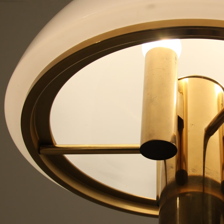 Pair of Brass Mushroom Shaped Floor Lamps with Glass Shade at 1stdibs