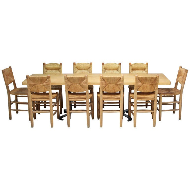 large charlotte perriand les arcs table with 10 bauche chairs at 1stdibs. Black Bedroom Furniture Sets. Home Design Ideas